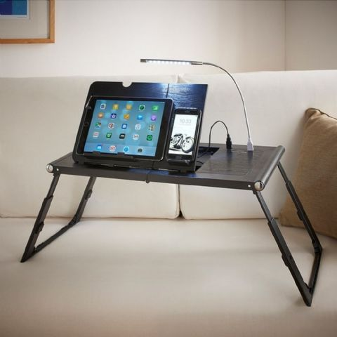Black Laptop & Tablet Table & Charger